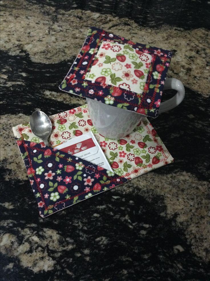 Mug rug e abafador de chá recheado com cravos da Índia!