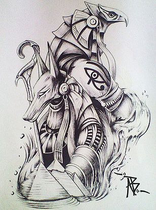 25 best ideas about anubis tattoo on pinterest horus for Egyptian tattoo flash