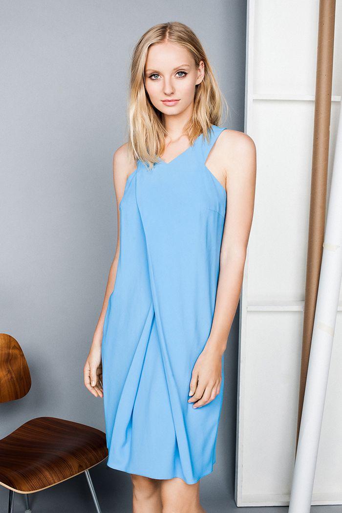 Drapey Viscose Wrap Front Dress