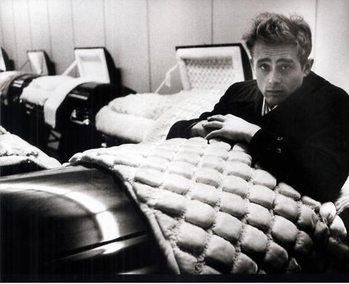James Dean checking out a casket?