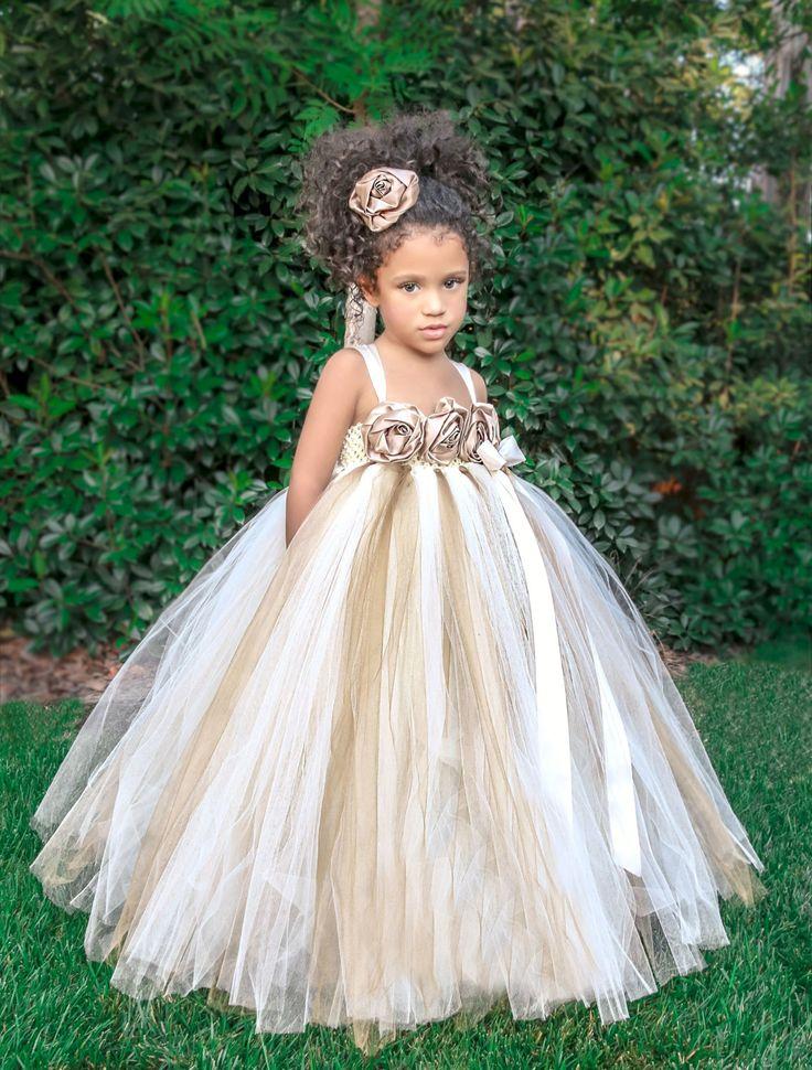 Cute Ivory Gold Champagne Flower Girl Dress by PrincessLondonsTutus