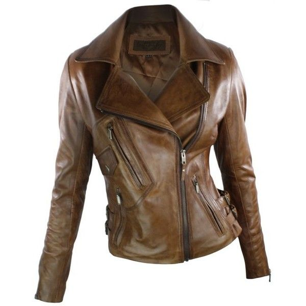 Ladies Real Leather Jacket Short Fitted Bikers Style Vintage Tan Brown... ❤ liked on Polyvore featuring outerwear, jackets, short leather jacket, real leather jackets, genuine leather jackets, brown leather jacket and brown jacket