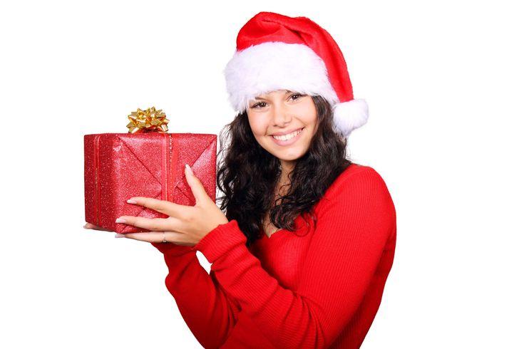 #christmas #christmas hat #christmas present #gift #girl #happy #portrait #smile #woman #xmas