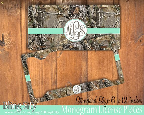 Mint camo Monogram License Plate Frame Holder Metal by BlingSity