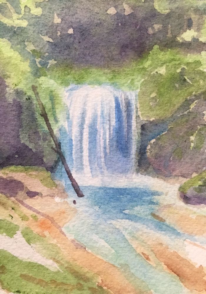 Colorful Waterfall Landscape Original Watercolor Painting Aceo