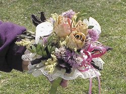 """suggestions for symbolic bouquet herbs to use in a wedding  loyalty. The old poem, author unknown, says """"Here's Thyme to give you courage and Rosemary for the past, Sweet Lavender for a loyal heart and Rose, a love to last; Sage for a life that is long and brave, Mint to quicken the brain, Violets to ward off evil ones and Basil to cure the pain. Then for fun and fragrance Southernwood will do; and Lemon and Ginger mean a Sixpence in your shoe."""""""