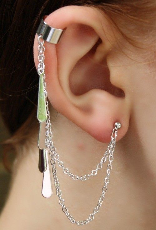 Dangle Ear Cuff Silver Chain Earcuff