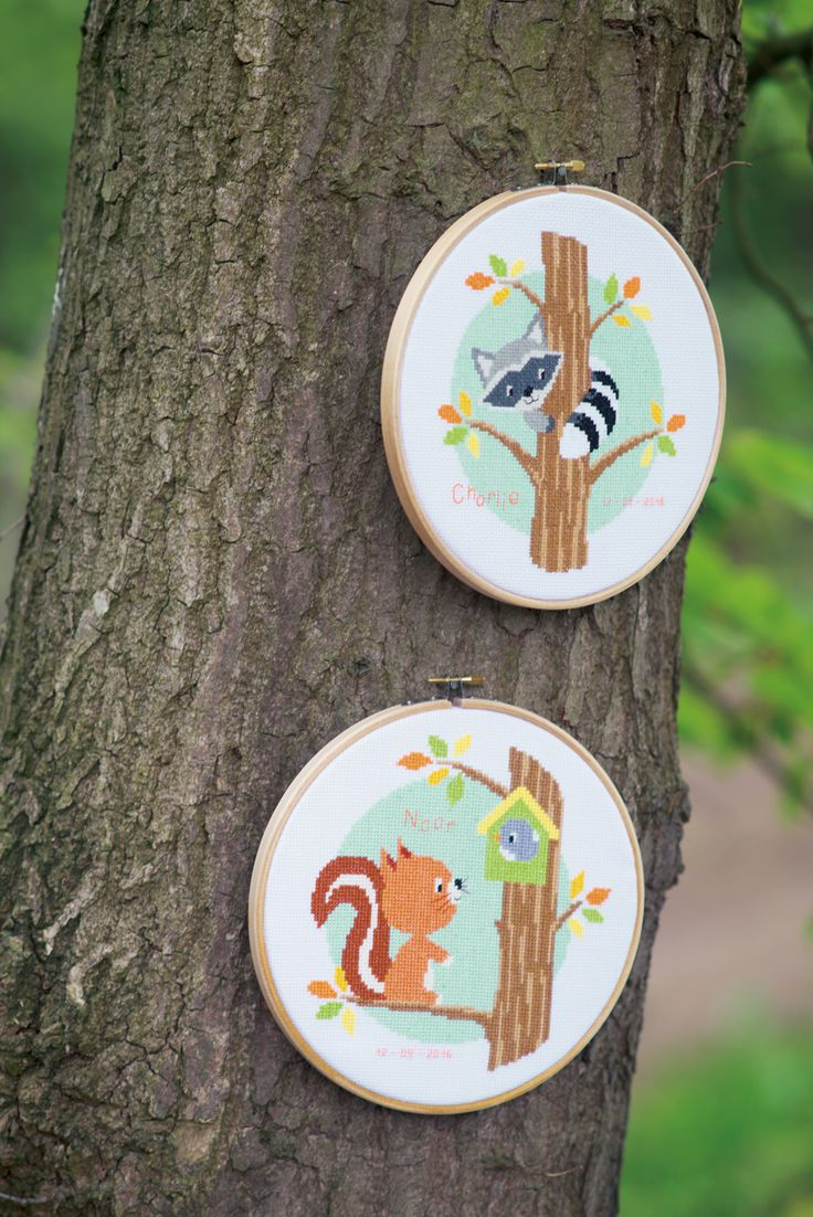 embroidery, cross stitch, hoop, little animals, racoon, squirl, birth hoop