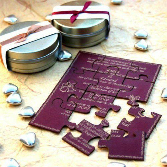 faire part mariage personnalise en puzzle de la gamme violette