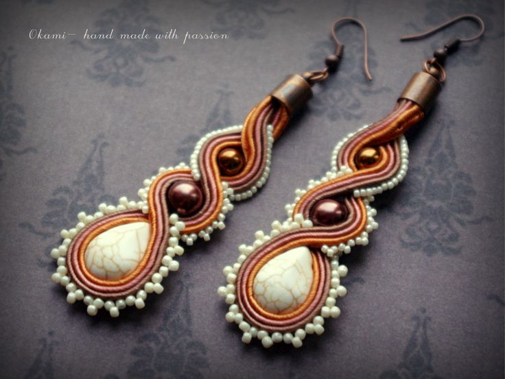 Two-sided brown soutache earrings with howlit and pearls by Okami- hand made with passion