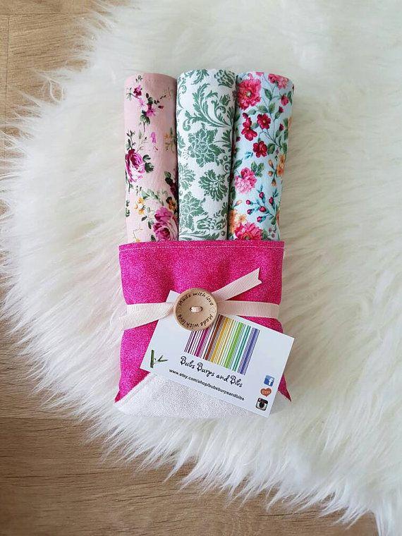 This beautifully handmade gift pack consists of... *3 x burp cloths *1 x baby bandana bib. pretty easy to make