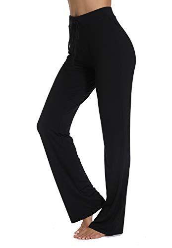 FITTOO Pantalon Yoga Doux Modal Pyjama Femme Fluide Lâche Sport Elastique Legging  Taille Haute Fitness Jogging Danse - Noir - L f1a07e5bfc3