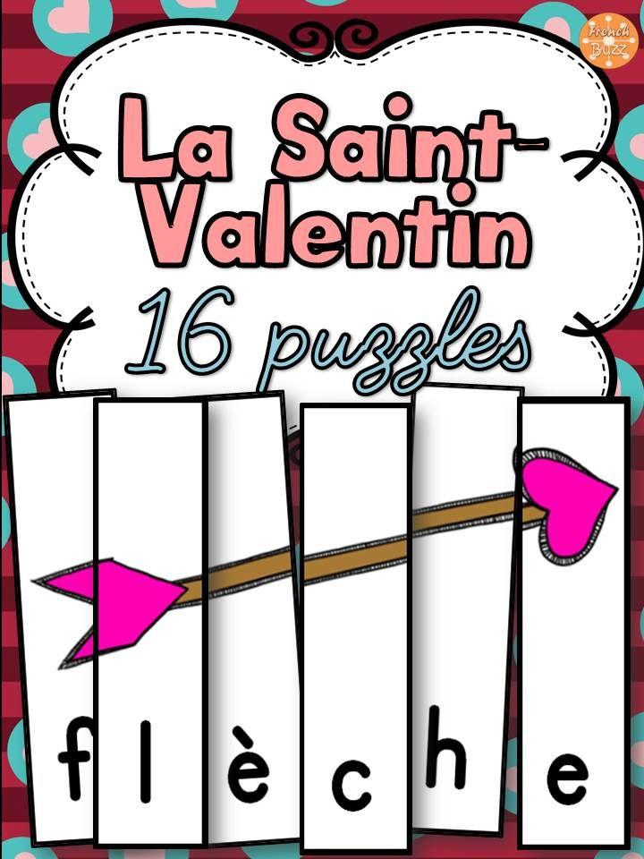 La Saint-Valentin - 16 puzzles sur le vocabulaire. Exemples de mots inclus: flèche, coeur, Cupidon, fleur etc. Ce jeu de casse-tête est amusant et parfait pour les centres de littératie !