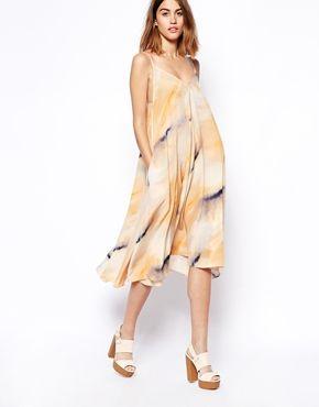 ASOS WHITE Silk Trapeze Dress in Watercolour Print