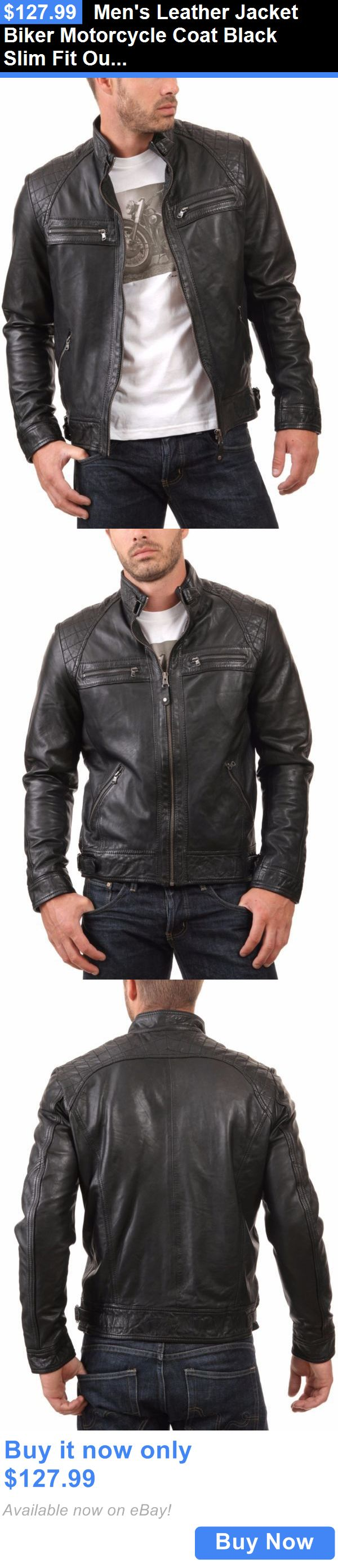 Men Coats And Jackets: Mens Leather Jacket Biker Motorcycle Coat Black Slim Fit Outwear Jackets - 32 BUY IT NOW ONLY: $127.99