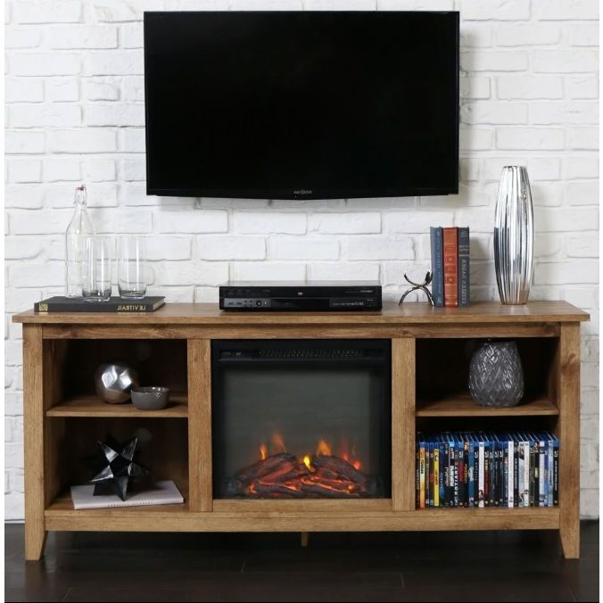 This Barnwood 2-in-1 Electric Fireplace Space Heater and 58-inch TV Stand brings warmth and class to any living room setting. Crafted from robust solid wood, high-grade engineered wood, and select veneers and laminates, this unit is available i...