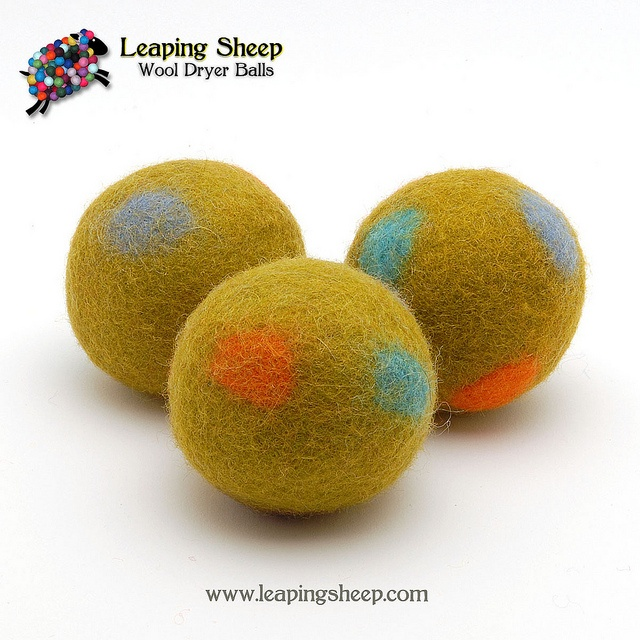 Knitting Pattern For Wool Dryer Balls : dryer balls... My favorite new style of Leaping Sheep Wool Dryer Balls. Fel...