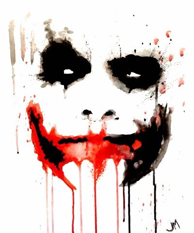Joker Bat face watercolor Art Print (nifty watercolor tattoo idea!!!!)