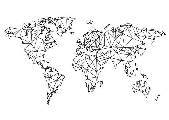 Weltkarte weiß Kunstdruck