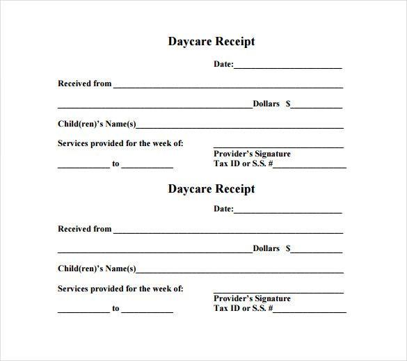 daycare receipt template  u2013 12  free word  excel  pdf