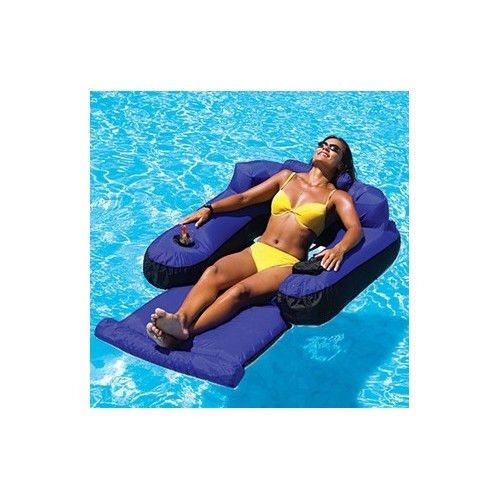 Pool Float Lounger Drink Holder Lake Boating Chair Tanning Swimming Relaxation Fun At The