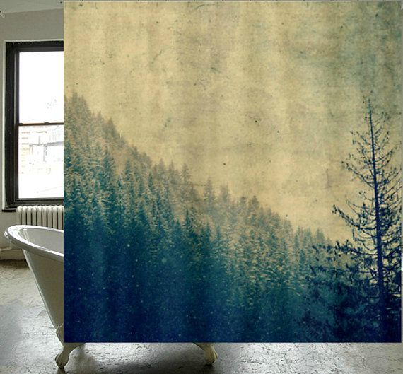 Fabric Shower Curtain   Original Photography By RDelean Designs    Mountains, Snow, Forest, Woodlands, PNW