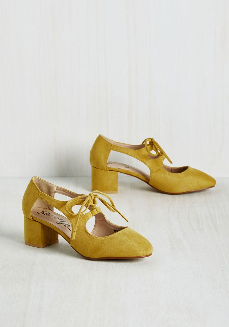 New Orleans Lease on Life Heel in Curry. A flavorful southern foray calls for none other than these lace-up heels! #yellow #modcloth
