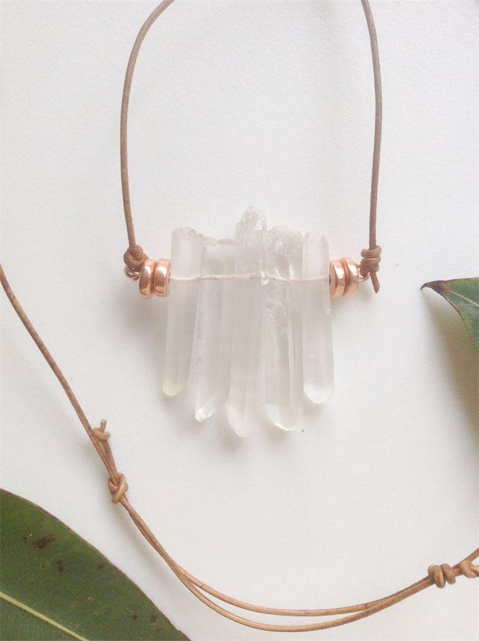 NECKLACE quartz crystal & pure copper plated bead adjustable leather necklace | Banjo & The Sparrow | madeit.com.au