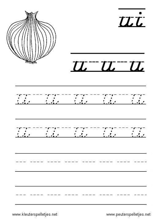LETTER U | letters leren herkennen en schrijven, alfabet printbladen a t/m z