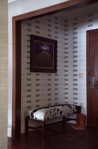 wallpaper: Wood Trim, Color, Design Wallpapers, Cavern Wallpapers, Tapestries Wallpapers, Cavern Tapestries, Walnut Wallpapers, Black Arrows Wallpapers, Accent Wall
