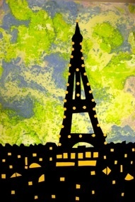Marbled paper silhouettesDeception Simple, Landmarks Study, Major Landmarks, Marbles, Silhouettes, Diy Travel, Crafts Artsandcrafts, Cityscape Chalk, Art Projects