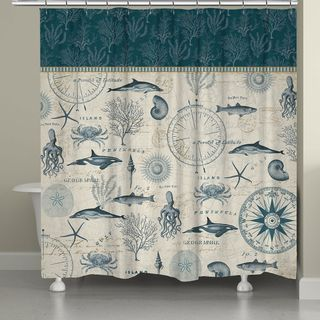 update your bathroom with this stylish blue shower curtain a variety of sea creatures are