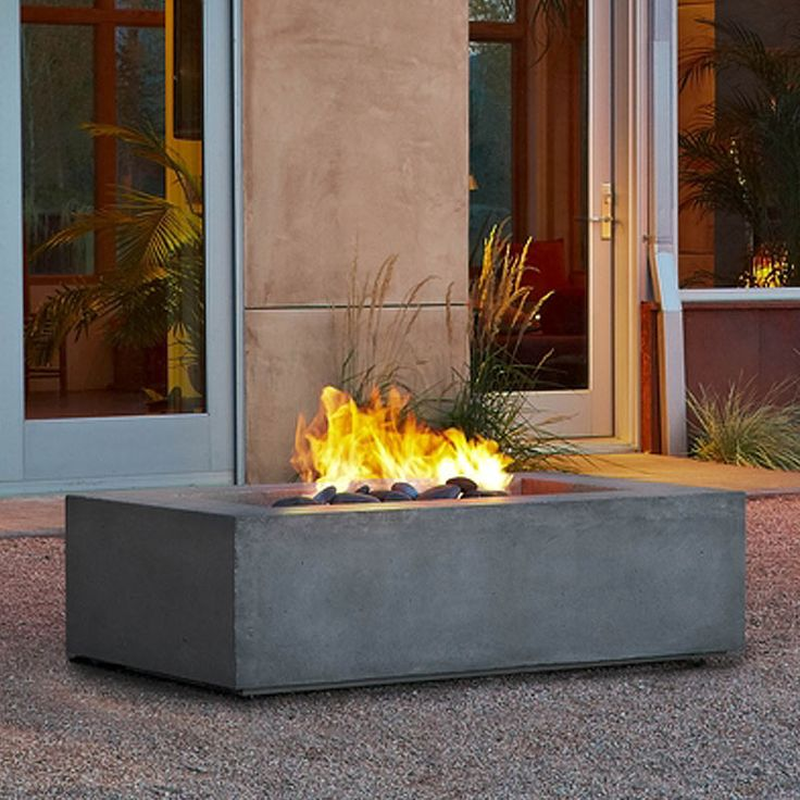 Baltic Rectangle Natural Gas Fire Table in Glacier Gray from Real Flame