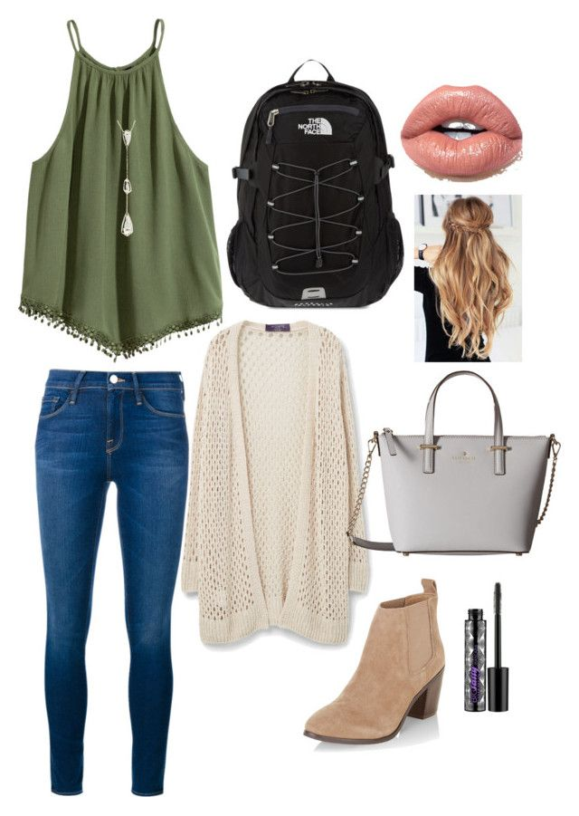 """school outfit"" by mkhays on Polyvore featuring Frame Denim, New Look, Kendra Scott, Violeta by Mango, Kate Spade, The North Face and Urban Decay"