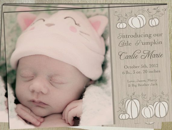 Printable Birth Announcement  Little Pumpkin  by pedalingdesigns, $15.00