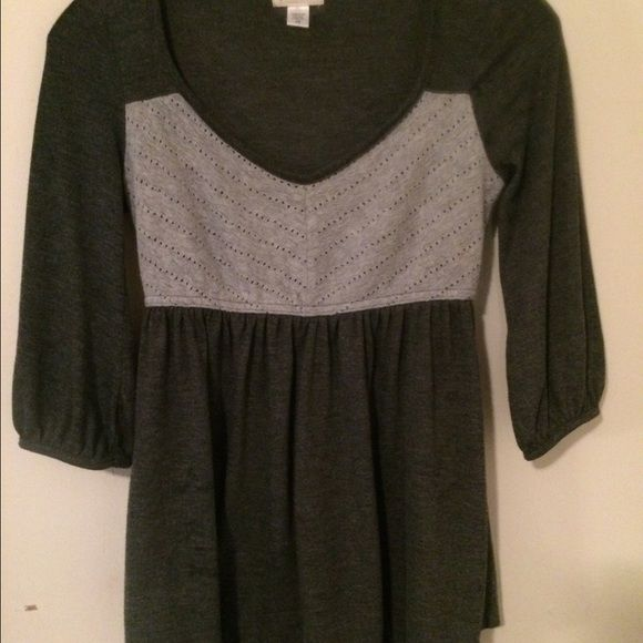 ! Puella for Anthropologie grey  top Puella brand sold by Anthropologie! Gently used grey smock style top 3/4 length sleeves placket at neckline in white,EUC Anthropologie Tops Blouses