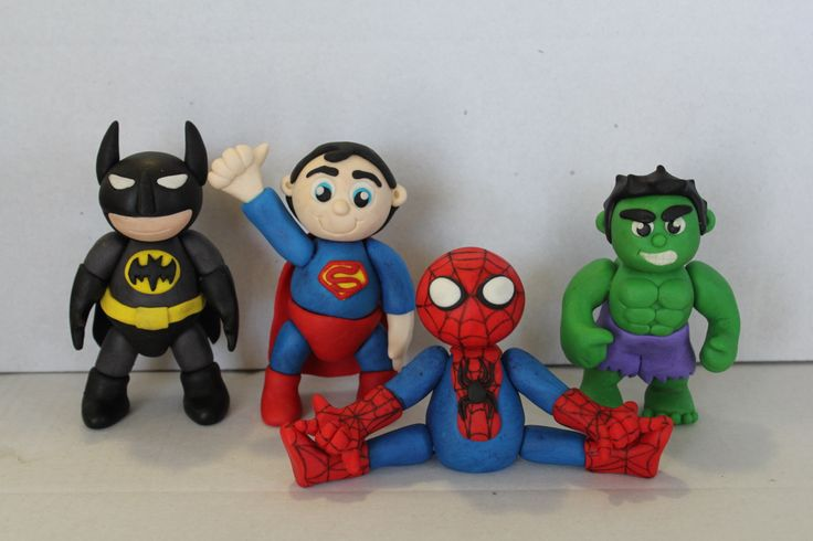 Superhero cake toppers. Batman, Superman, Spiderman and The Hulk. Made with homemade marshmallow fondant.
