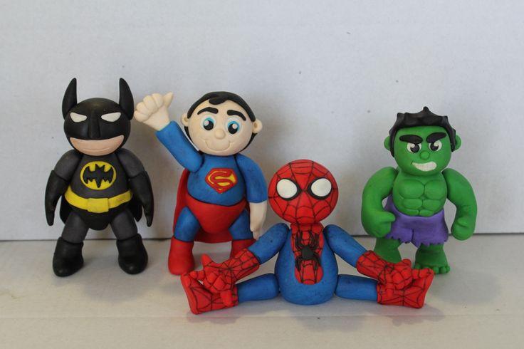 Superhero cake toppers. Batman, Superman, Spiderman and The Hulk. Made with homemade marshmallow fondant.