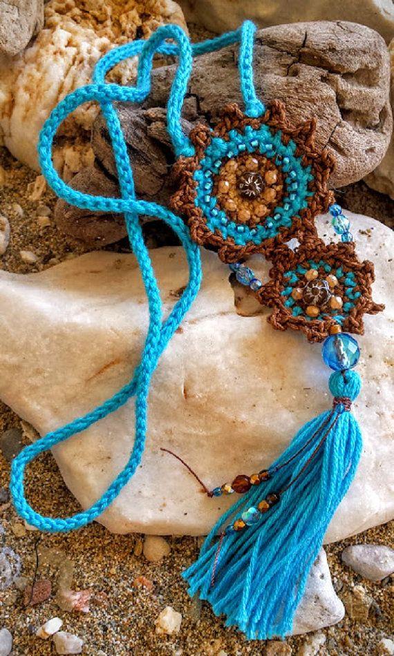 Boho crochet collares, borla collar de ganchillo, turquesa y marrón de algodón