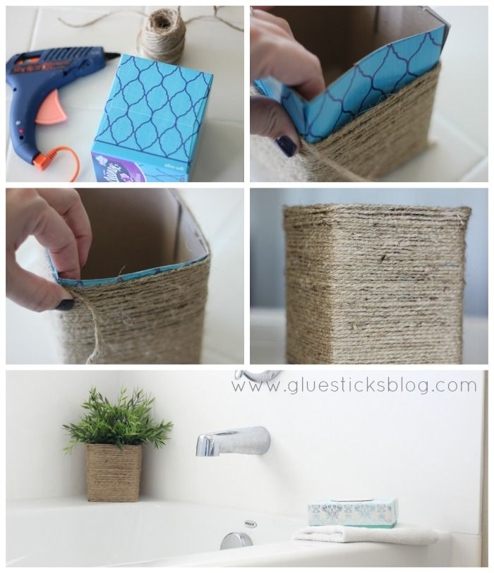 Twine Wrapped Tissue Box  #kleenex #ad