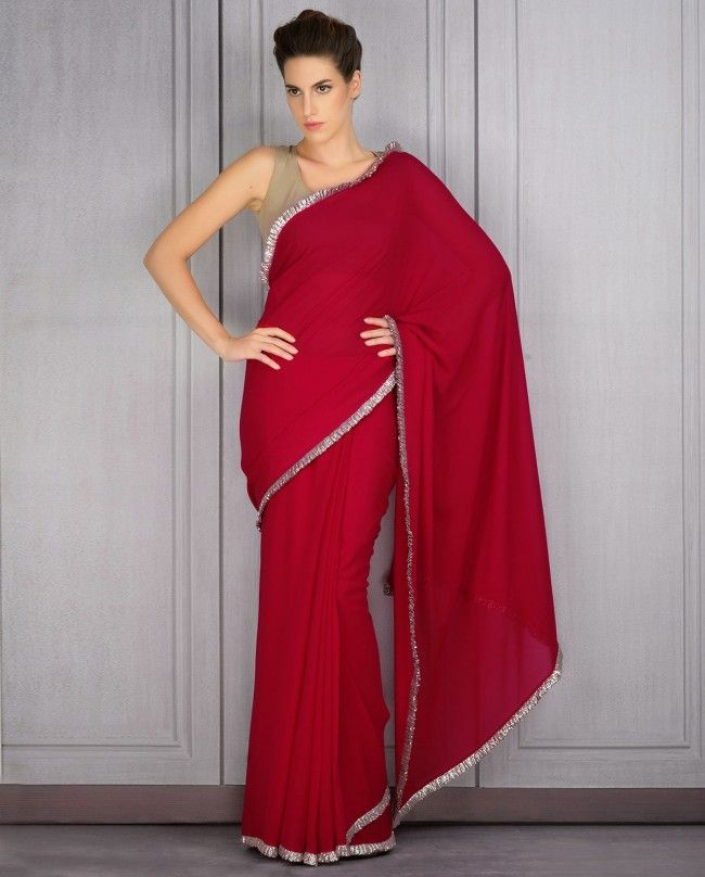 Kingfisher Red Sari with Sequined Frill Border