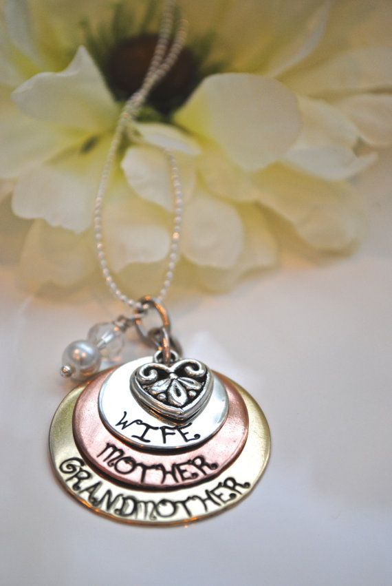 Hand Stamped Wife Mother Grandmother Custom Necklace by Cheri1973, $45.00