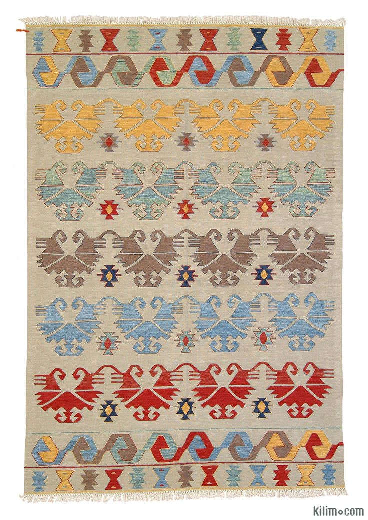 New Turkish Kilim Area Rug hand-woven in Konya, Turkey with vegetable-dyed and hand-spun wool. The fringes can be removed upon request. If you like the design of this rug, we can custom make it to meet your color and size requirements.