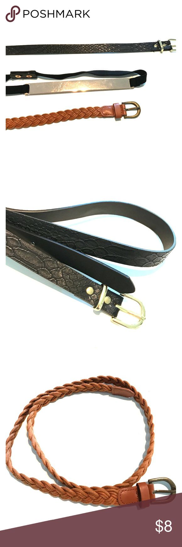 3 Belts 1) Black Faux Leather Belt with Gold (has one extra hole but can barely be seen) 2) Braided Brown Belt 3) Button Snap Fashion Belt with gold plate...looks super cute with dresses or jumpsuit for an hour glass figure look Accessories Belts