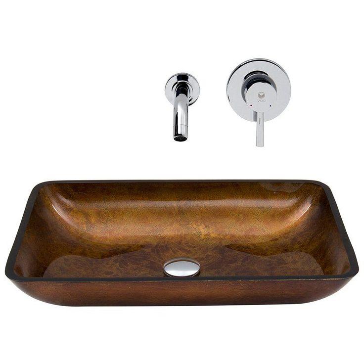 vigo vgt302 rectangular russet glass vessel sink and wall mount faucet set chrome vgt302