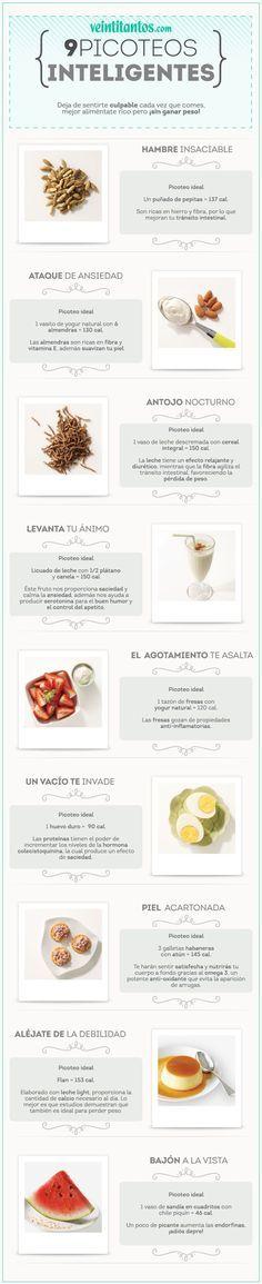 9 picoteos inteligentes para mantener la linea. #infografia #nutrición                                                                                                                                                      Más