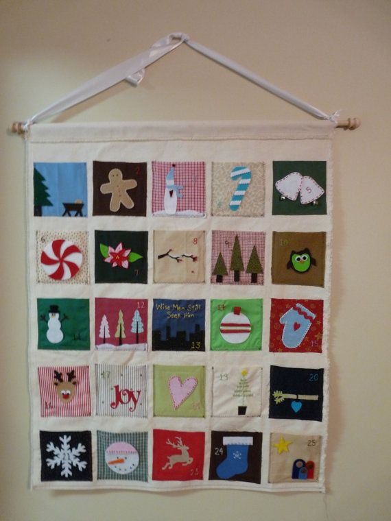 Wonderful family tradition! Count down the days until Christmas with a surprise everyday. 25 pockets to fill with goodies, candy, toys, legos, Bible verses or family activities. Most pockets have felt details. Each pocket is handmade with embroidered numbers. The pockets measure approximately 5 x 5 inches. Well made to last many years!    The back is made of canvas and measures approximately 30 x 37 inches. The dowel is 34 inches.    *The last picture shows the actually ribbon that comes on…
