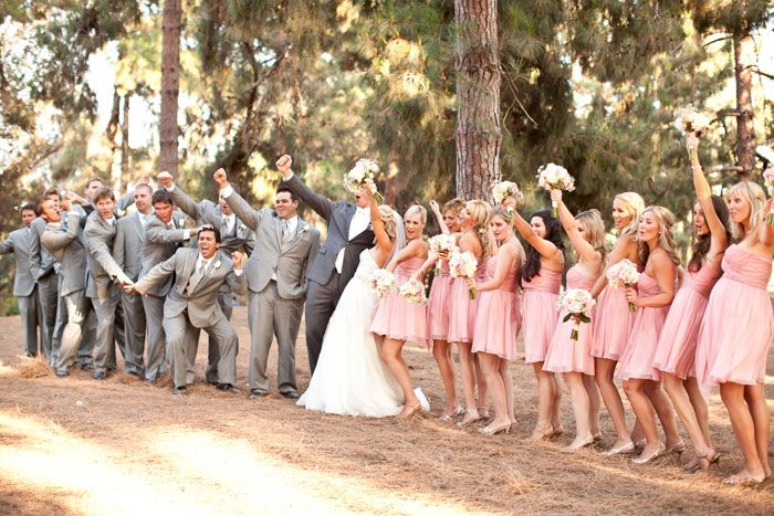 Blush Wedding Dress Grey Bridesmaids : Blush bridesmaids and gray groomsmen wedding party