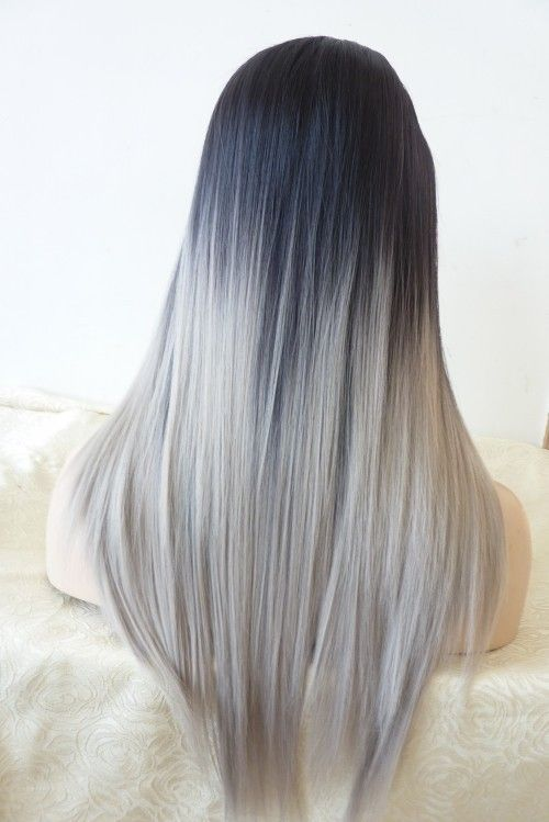 Straight dark to gray ombre hair – long straight ombre hair style