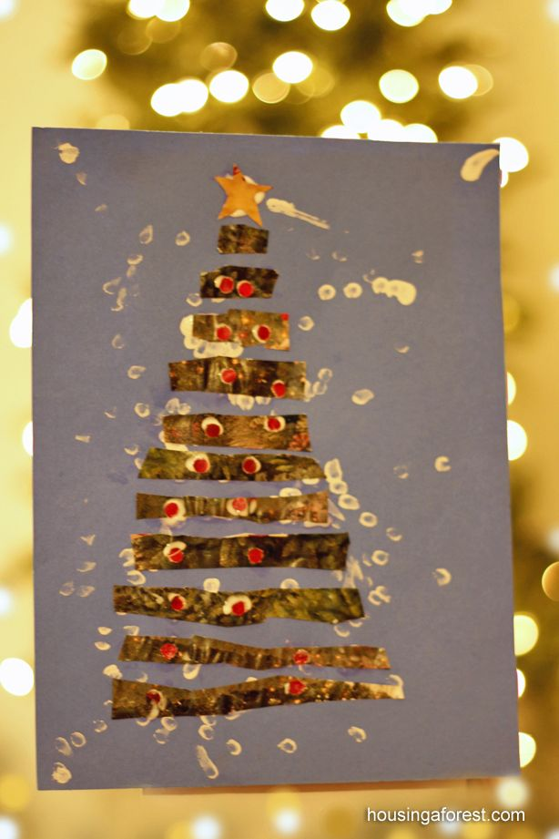 Recycled paper strip Christmas Tree - Great scissor skills activity.